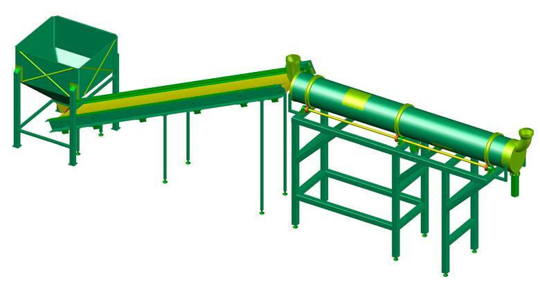 Secador de tambor rotativo - Planos completos para fabricar una linea de secado.