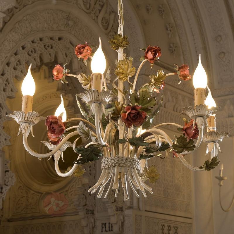 Lustre raffiné ANCONA avec roses - Lustres style florentin
