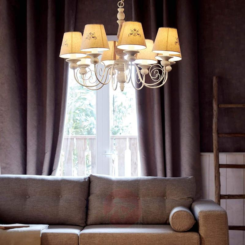 Country-house Robin chandelier with linen shades - Chandeliers