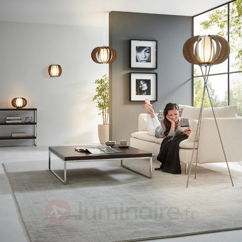 Lampadaire LED trépied Stellato en bois foncé - Lampadaires en bois