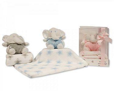 Baby Elefant-Kuscheltier mit Stern-Decke -