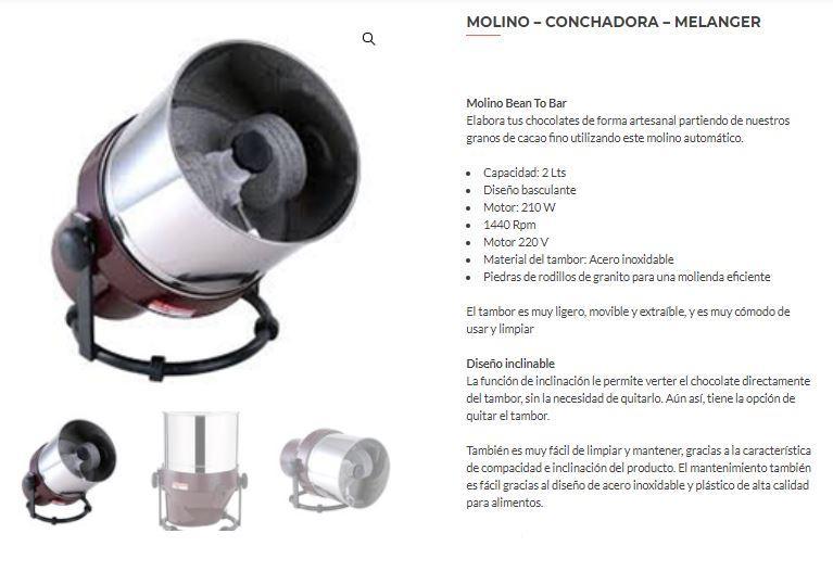 MOLINO / CONCHADORA / MELANGER - Tienda online Shop - Cacao, Derivados y Maquinaria - Tienda online Shop