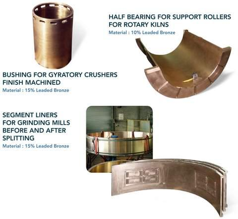 components for cement mills and the mining industry - centrifugal castings in bronze (tin & lead) for crushers, rotary kilns...