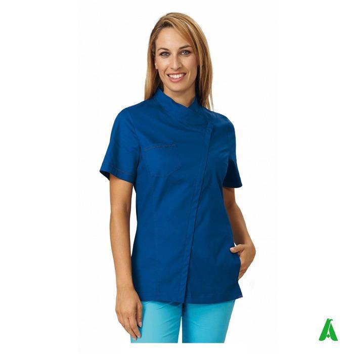 Casacca donna elasticizzata per centri wellness  - Casacca con zip nascosta, tasca, taschino personalizzabile