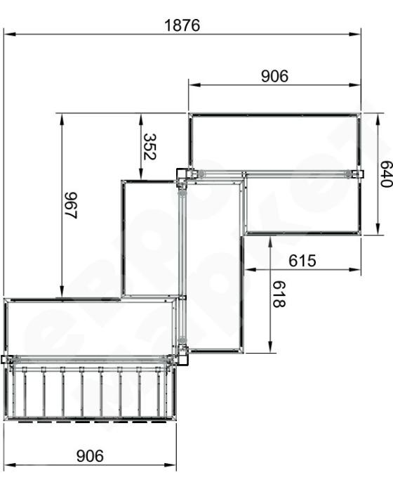 DISPLAY RACK - Gondola zigzag trade shelf stand