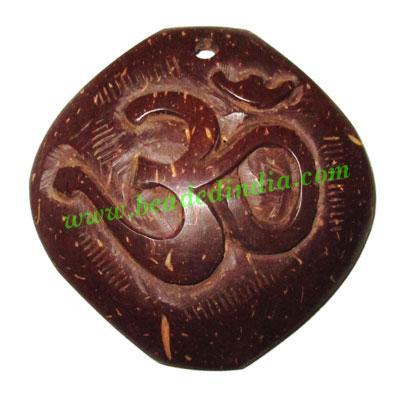 Handmade coconut shell wood Om pendants, size : 52x3mm - Handmade coconut shell wood Om pendants, size : 52x3mm
