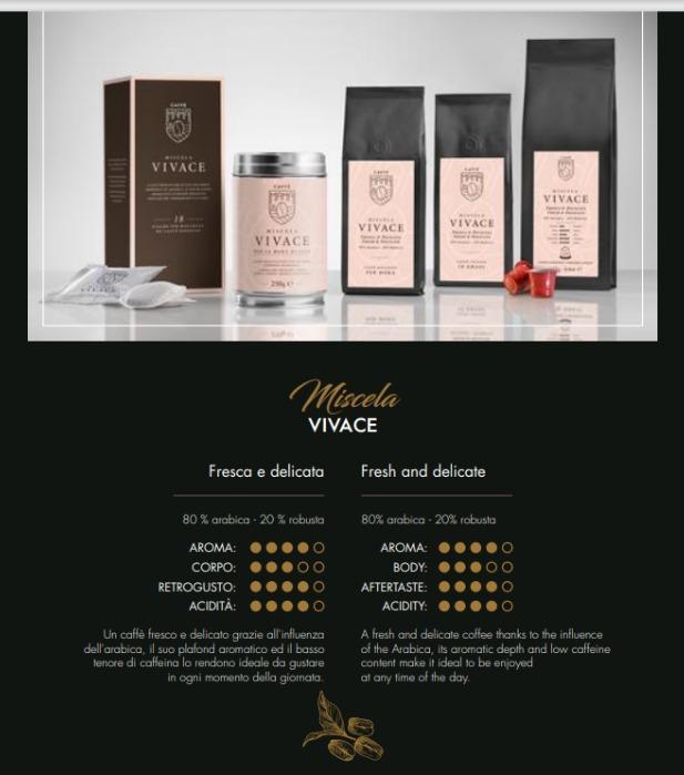 Miscela VIVACE 80% robusta – 20% arabica - Caffè Italiano di alta quality, produzione artigianale