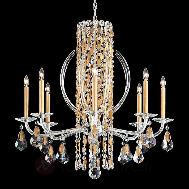 Lustre en cristal doré Sarella, 8 lampes - Lustres en cristal