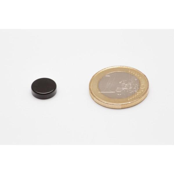 Neodymium disc magnet 10x3mm, N45, black Epoxy plated - Disc