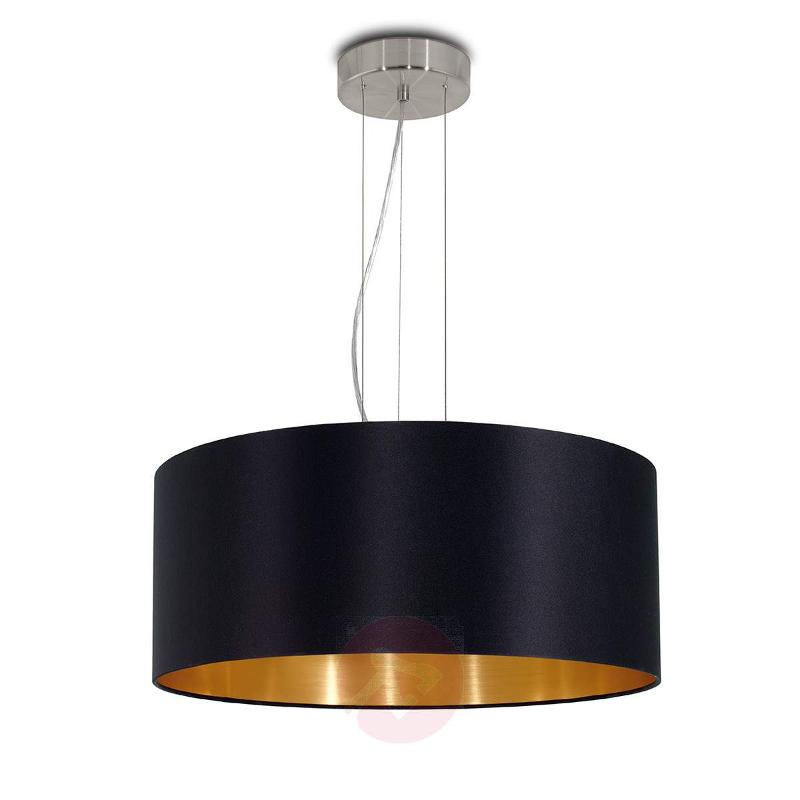 Lecio - black-gold fabric hanging light - Pendant Lighting