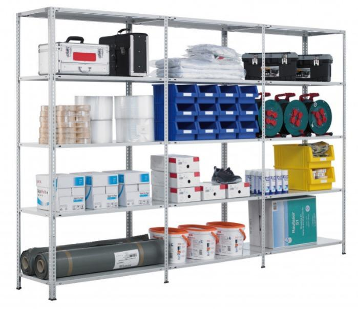 Bolted shelving system, storage rack, 2000x1000x500 mm - Starter shelving, Bolted shelves, 2000x1000x500 mm, galvanised, 5 Shelves
