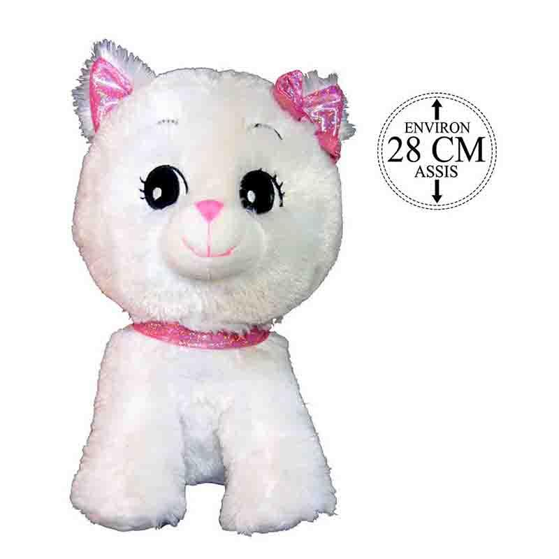 CHAT BLANC NOEUD + COLLIER ROSE 28CM - PELUCHES