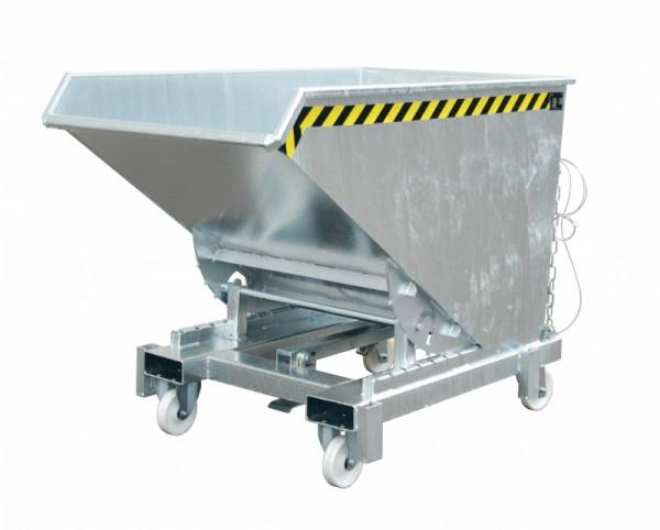Heavy duty tipper type SK, forklift truck attachment - Container with fork sleeves and automatic release