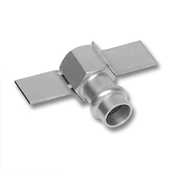 NiroSan® Übergangsmuffe mit Verdrehschutz mit Pressanschluss - NiroSan® Übergangsmuffe mit Verdrehschutz, mit Pressanschluss und Innengewinde