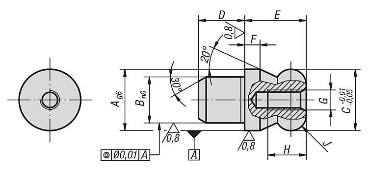 Cimblot épaulé à bout sphérique, forme B - Éléments de positionnement