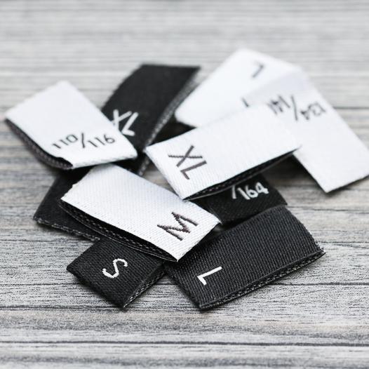 Etiquetas tejidas de tallas -