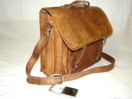 Leather Bag  - Leather Messenger Bag with Front Big Pocket