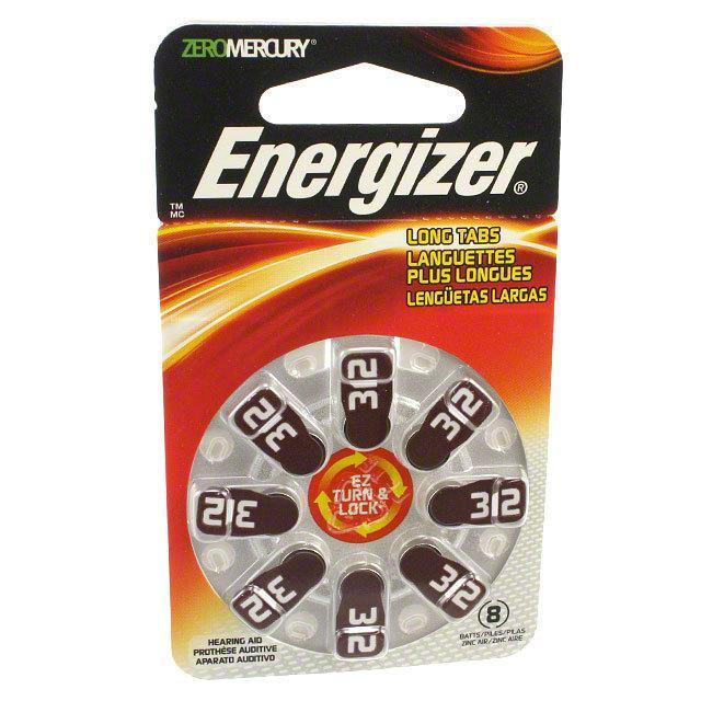 BATT ZINC 1.4V BUTTON 7.9MM 8PK - Energizer Battery Company AZ312DP-8
