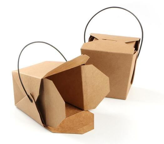 handle noodle box - Disposable handle take-away paper box