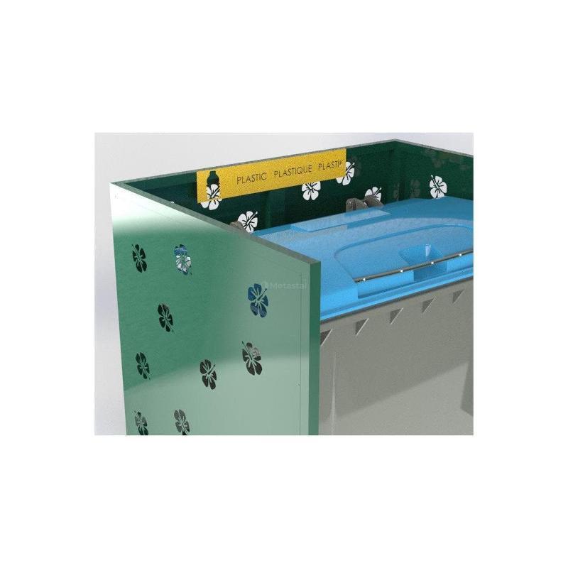 Cache Poubelle Double Hibiscus En U Recyclage Plastique - Abri cache double poubelle