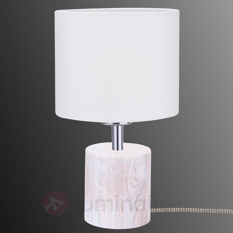 Lampe à poser avec pied en bois Trongo blanc - Lampes à poser en bois