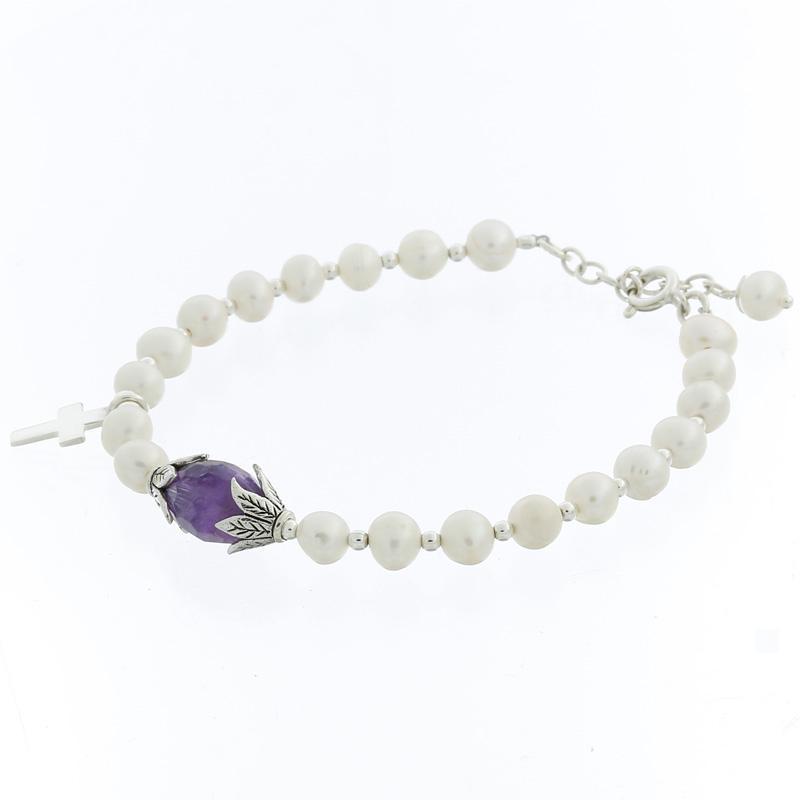 Freshwater Pearl Bracelet Amethyst Bead & Silver Cross - Product ID 86668P