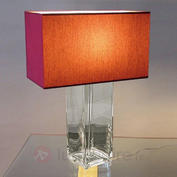 Lampe à poser rouge NINA pied transparent - Lampes à poser en tissu