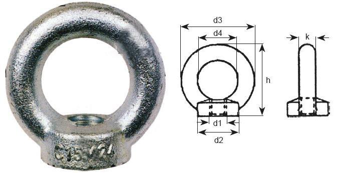 Mailles de tête - anneaux - Anneau femelle galvanisé DIN 582
