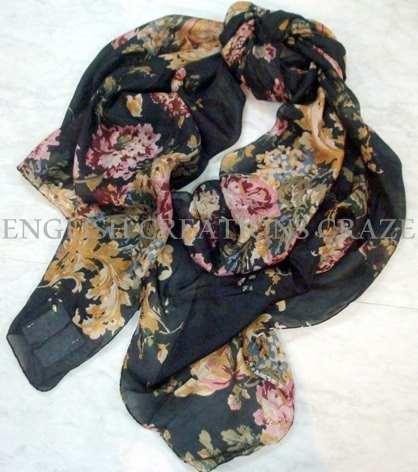 Silk Cotton Printed Scarves - Silk Cotton Printed Scarves