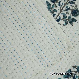 block print kantha quilt, kantha blanket, 100% cotton quilt  - handmade kantha blanket, india kantha throw, hand stitched quilt