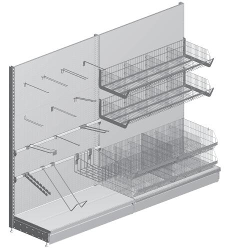 Modular shop rack systems & instore interior shelving design - Hooks, crossbars and wire baskets