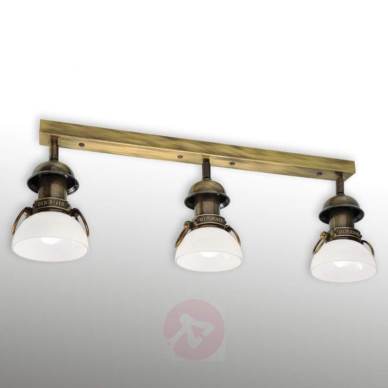 Ceiling light RAVENNA 3-bulb, antique brass, white - Ceiling Lights