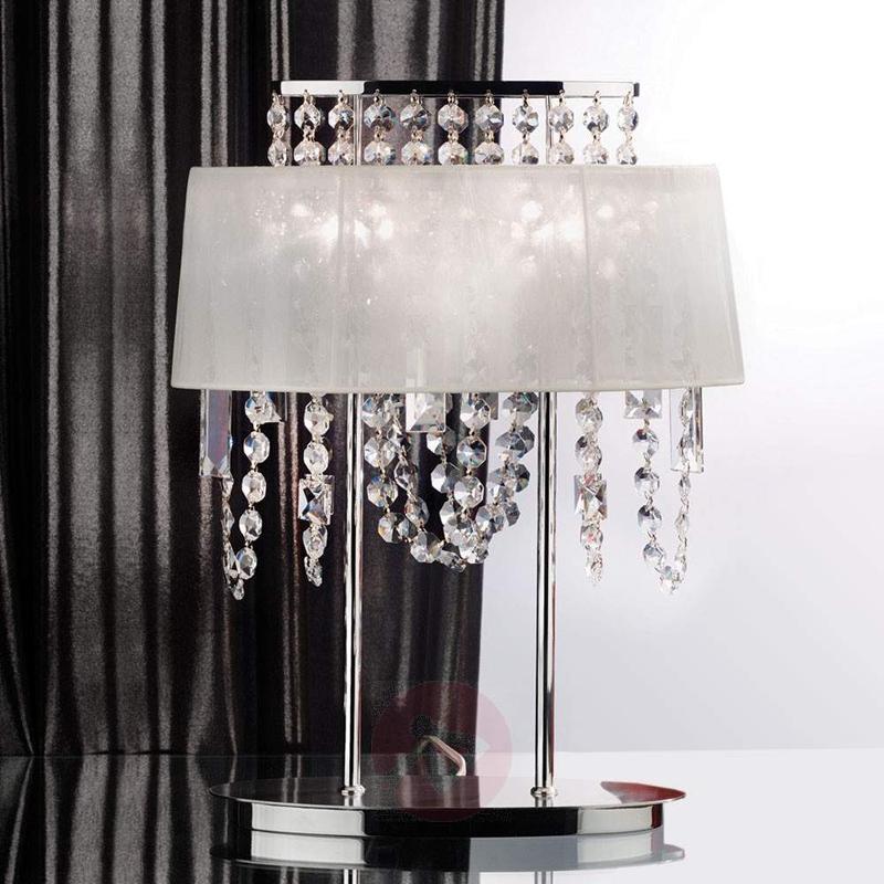 Jevana Crystal Table Light with Fabric Shade - Window Sill Lights