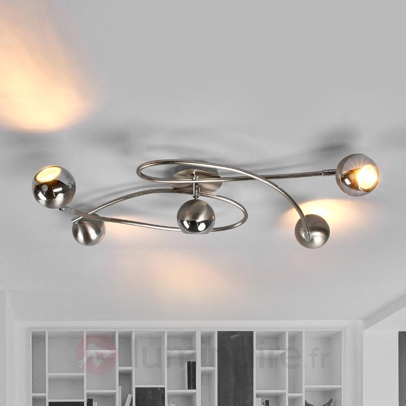 Plafonnier LED Arvin, nickel mat - Plafonniers LED