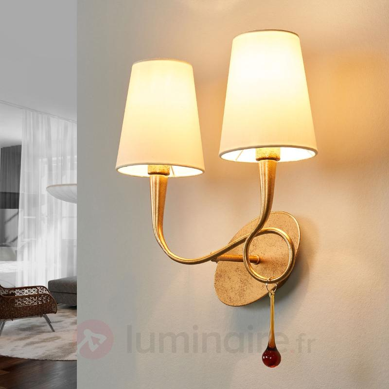 Applique dorée Paola à 2 lampes - Appliques en tissu
