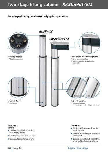 Columnas RK Slimlift - Columnas elevadoras de dos etapas y hasta 500 mm de carrera