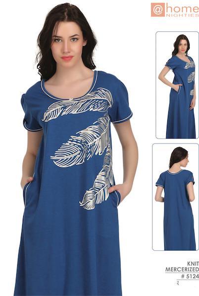 Blue Leaf Print Nighty #5124