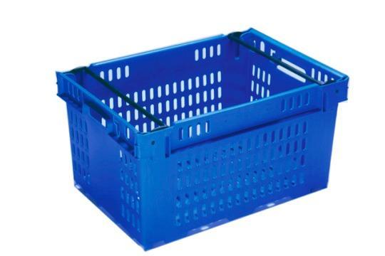 Cajas de plástico apilables y encajables - Apilable sobre barras abatibles, 53L (cerrada y/o rejada)