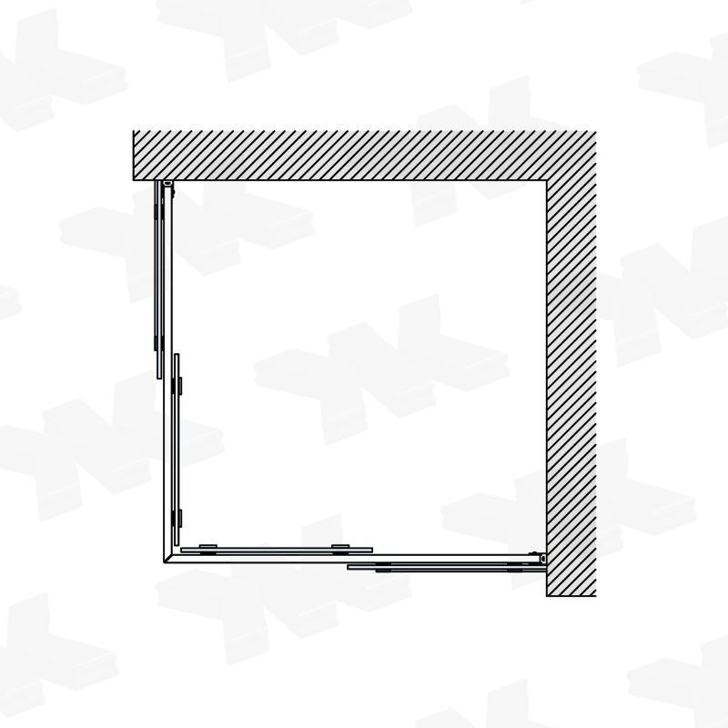 Corner shower for shower tray 800 x 800 mm or 900 x 900 mm - Fittings for sliding doors