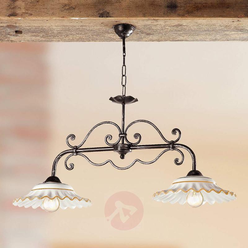 I BILIARDI hanging light, 2-bulb, orange - Pendant Lighting