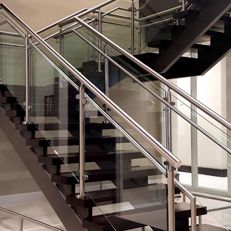 Balcony Glass Balustrade Stainless Steel Handrail Glass Fixing