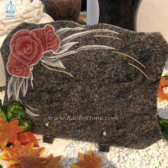 Granite Gravestone Plaque Flower Etching Memorial Plaque - Plaque