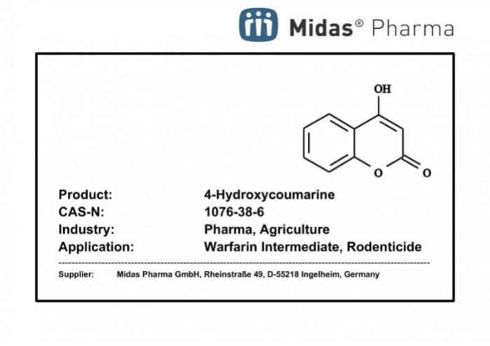 4-hidroxicumarina - CAS 1076-38-6; Intermediario de warfarina, rodenticida, Ácido benzotetrónico