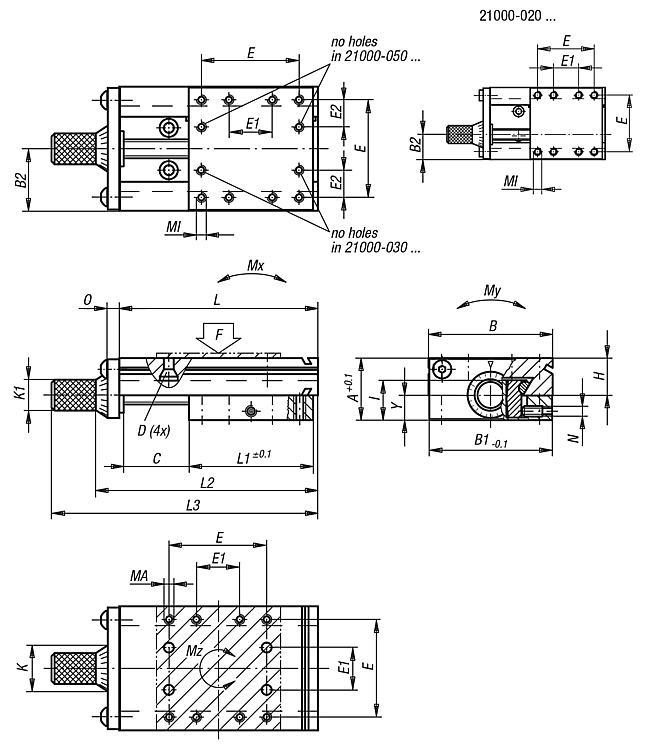 Dovetail slides with micrometer spindle - Carriage guides