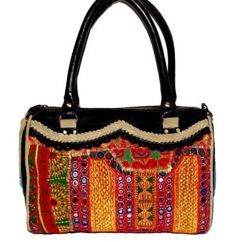 Banjara Zari Leather Duffel Bag - Material: Banjara Zari Fabric And Leather