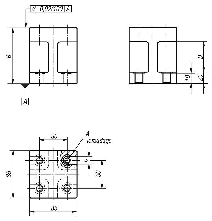 Bloc entretoise forme H - Éléments de montage