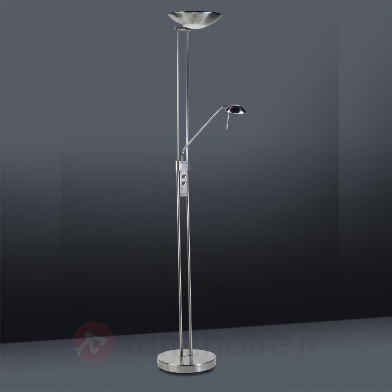 Lampadaire flexible CRETA, nickel satiné - Lampadaires à éclairage indirect