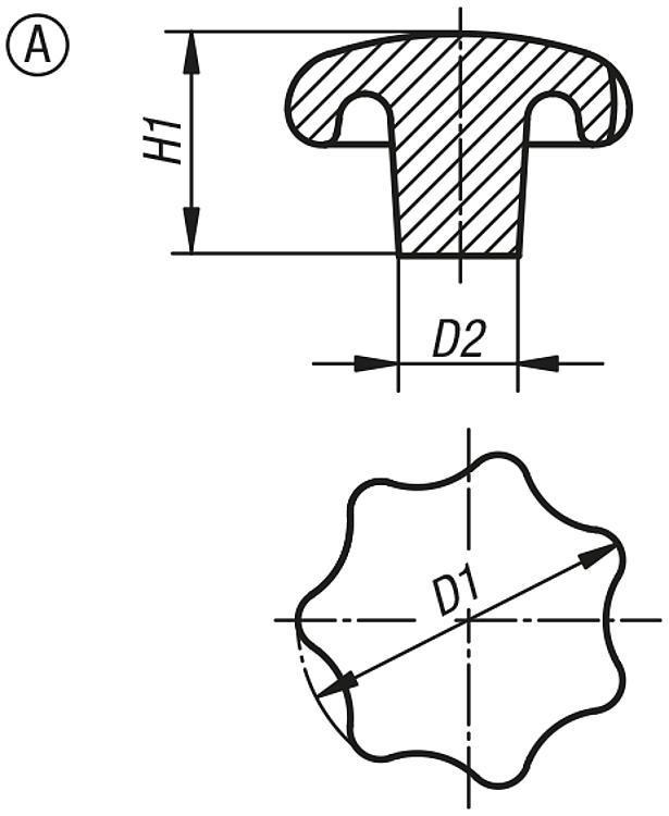 Bouton étoile en aluminium, similaire à DIN 6336 - Poignées et boutons