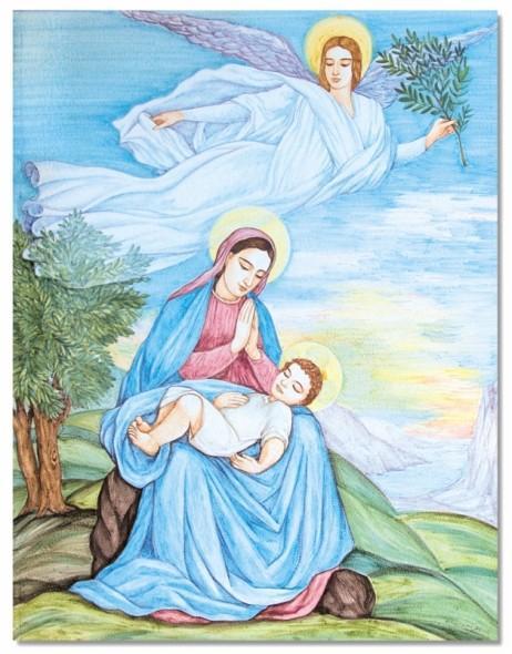 I Pannelli - Pannelli artistici - Tavola in Pietra Lavica con Immagine Sacra
