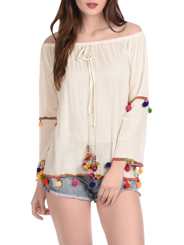 Off-shoulder Rayon Embroidery Top with Pom Pom  - Rayon Blouses | Tops | Casual Cotton Tops with Drawstring